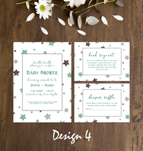 Load image into Gallery viewer, Aspire Designs Twinkle Little Star Baby Shower Invitation Set | Personalised Invites, Book Request & Diaper Raffle