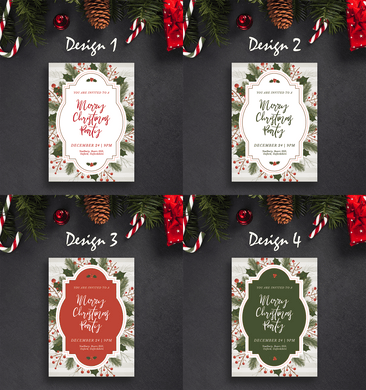 Aspire Designs Vintage Stripes Theme | Personalised Christmas Party Invitations