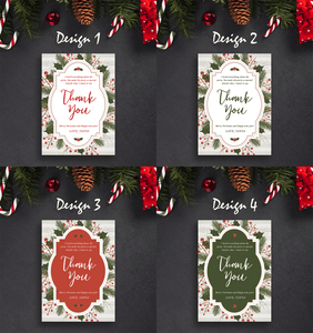Aspire Designs Vintage Stripes Theme | Personalised Christmas Party Thank You Cards