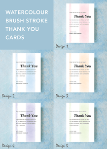 Aspire Designs Watercolour Brush Stroke Effect | Personalised Wedding Thank You Note + Envelopes