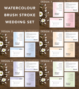 Aspire Designs Watercolour Brush Stroke Effect Wedding Invitation Set | Personalised Day/Night Invites, RSVP, and Detail Card