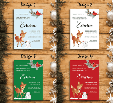 Aspire Designs Winter Animals Theme | Personalised Holiday Birthday Party Invitations | Christmas and New Year