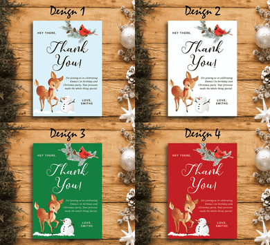 Aspire Designs Winter Animals Theme | Personalised Holiday Birthday Party Thank You Cards | Christmas and New Year