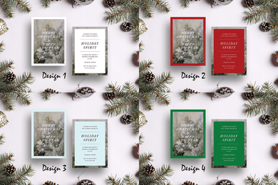 Aspire Designs Winter Holidays Theme | Personalised Christmas Party A6 Double Sided Invitations | Holiday Spirit Cards
