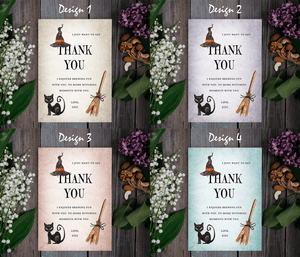Aspire Designs Witch Theme | Personalised A5 kids / Adults Halloween Party Thank You Cards