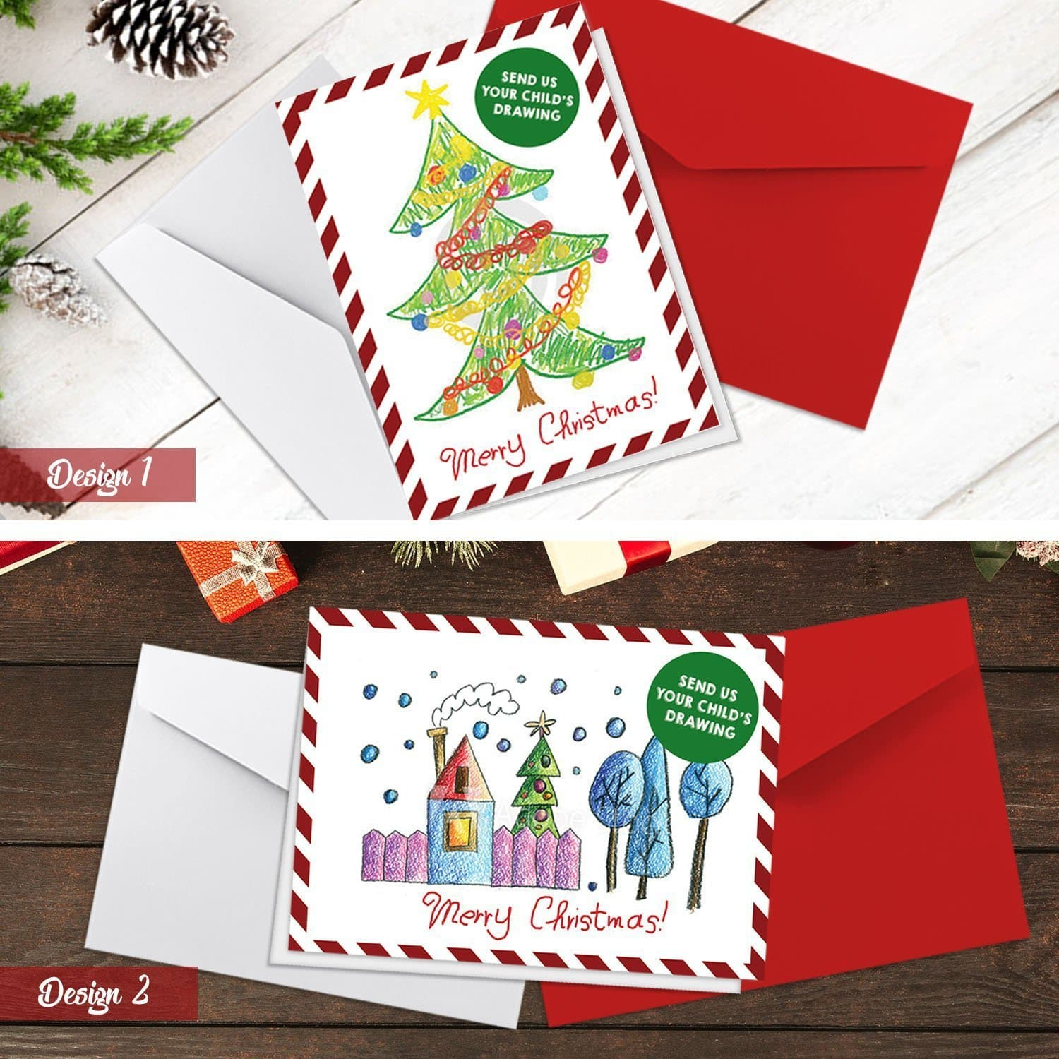 Christmas Card Drawing.Your Kids Personalised Drawing Christmas Cards Folded Cards A5