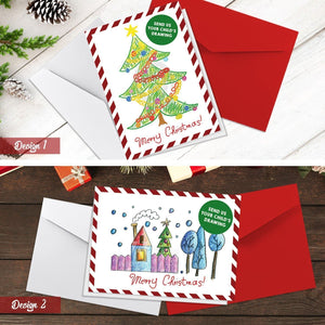 Your Kids Personalised Drawing Christmas Cards | Folded Cards (A6)