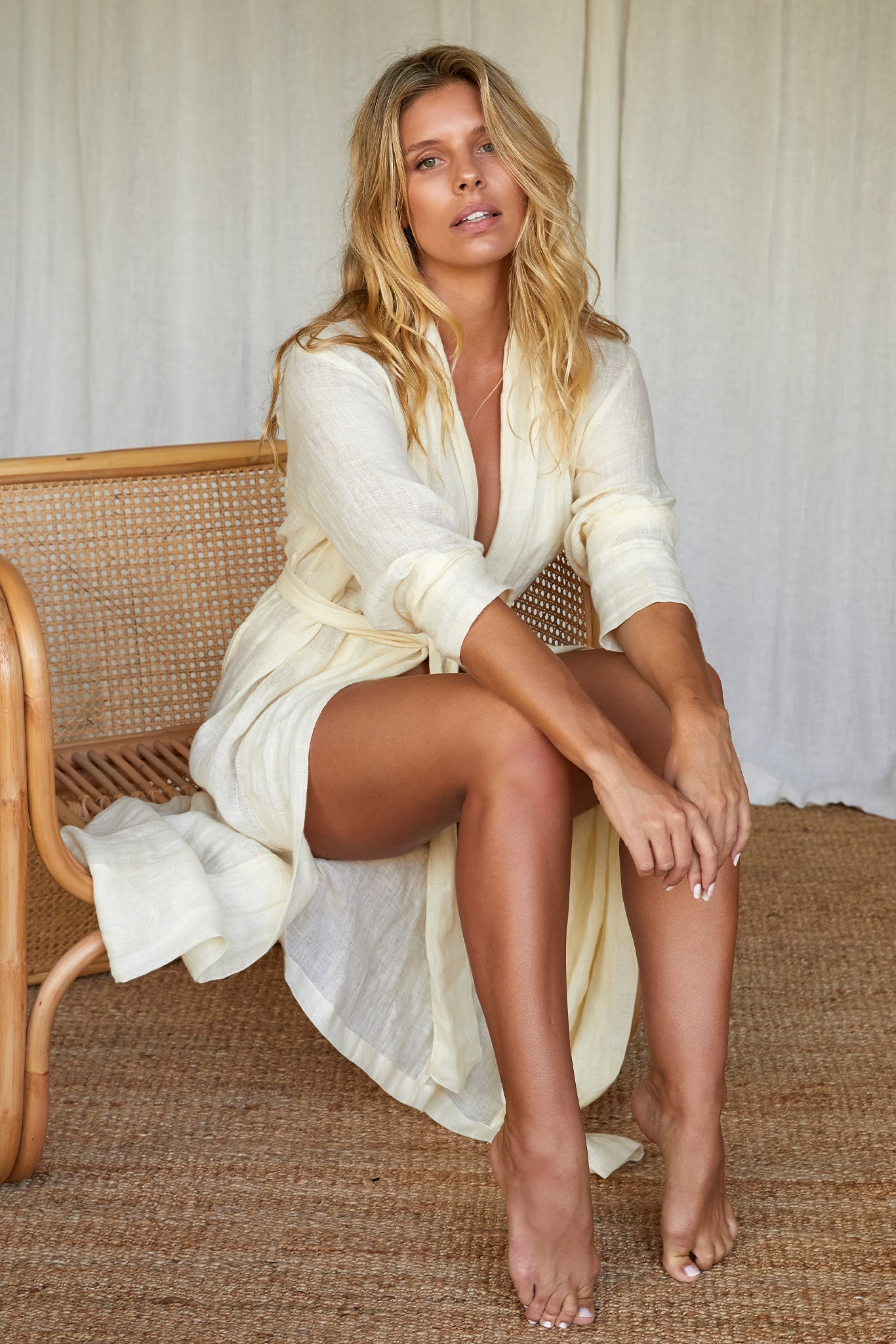 Load image into Gallery viewer, Malibu Linen Robe - Ivory