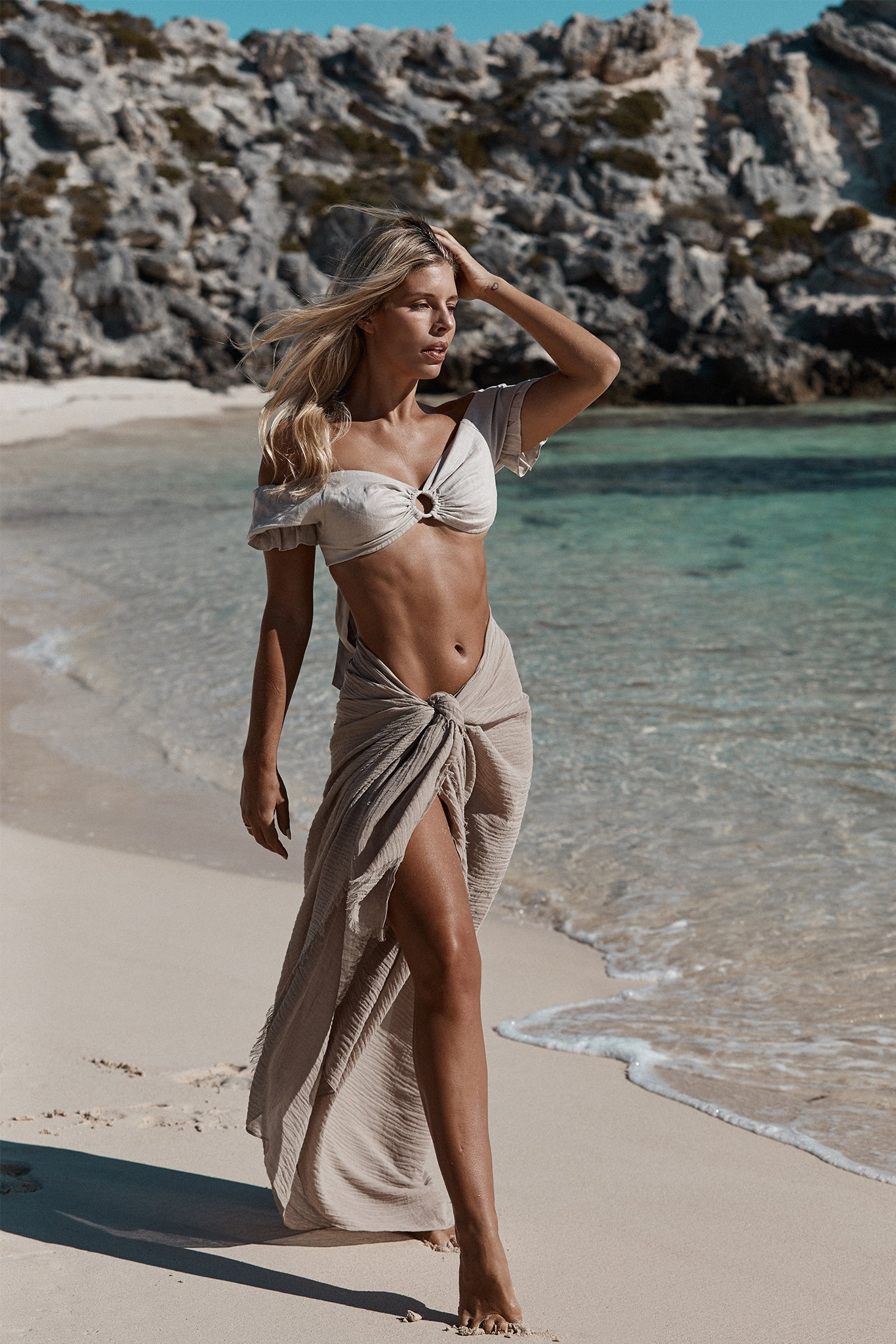 St. Tropez Sarong - Oat Crinkle Linen