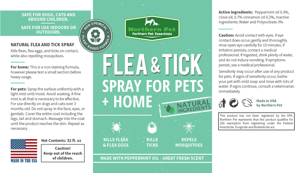 Northern Pet Natural Flea & Tick Control Spray - 32oz - TickledPet