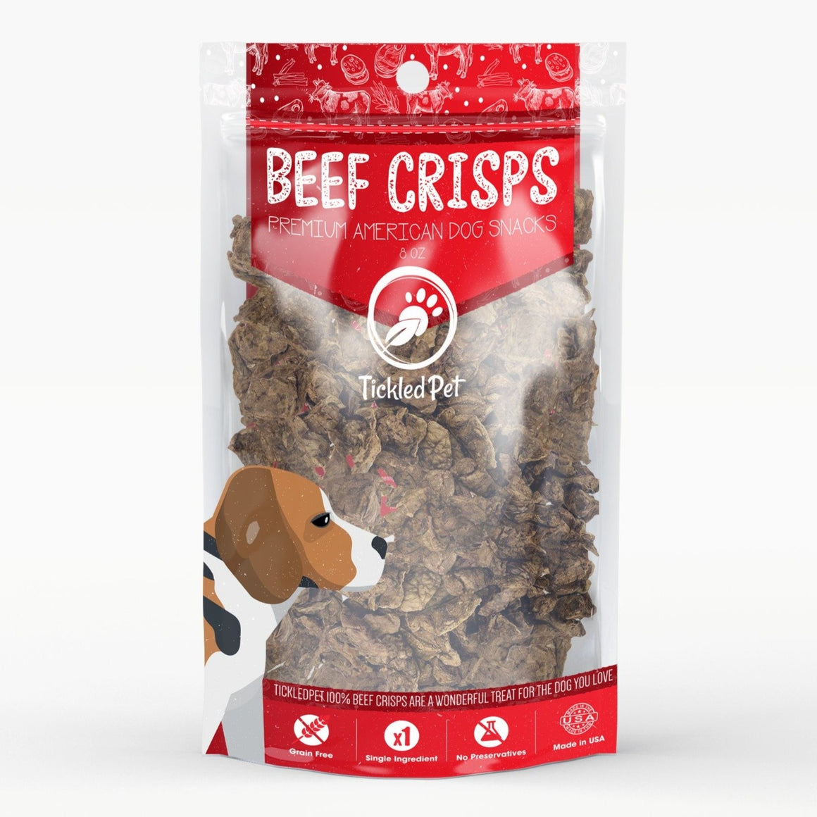 Natural Beef Crisps Dog Training Treats – Slow Roasted in the USA – Bite Sized - TickledPet
