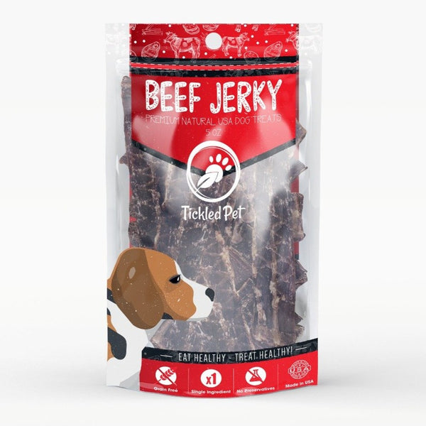 Premium Single Ingredient Beef Jerky Dog Treats - TickledPet
