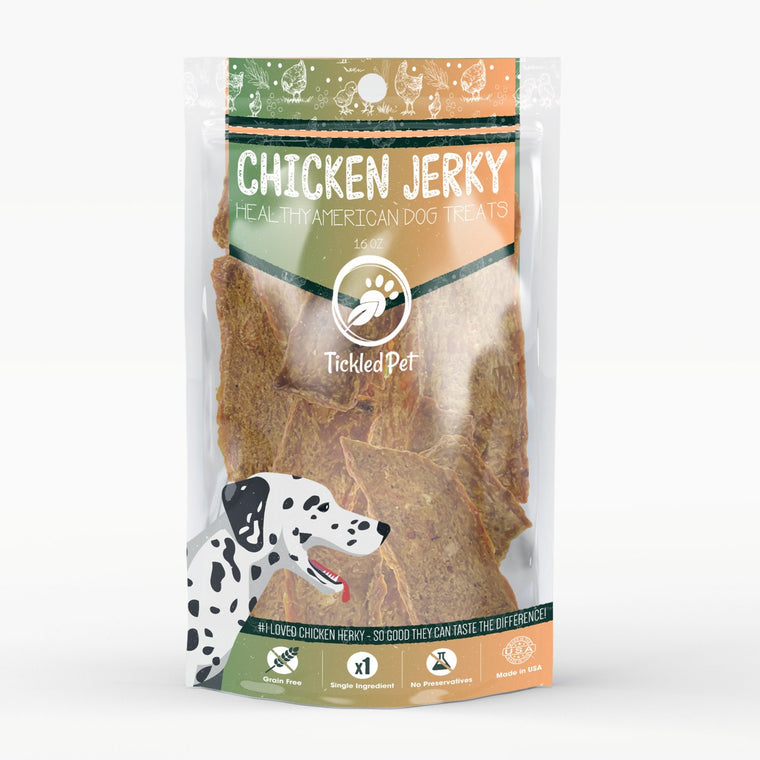 Chicken Jerky for Dogs – Natural American Made Dog Treats - TickledPet