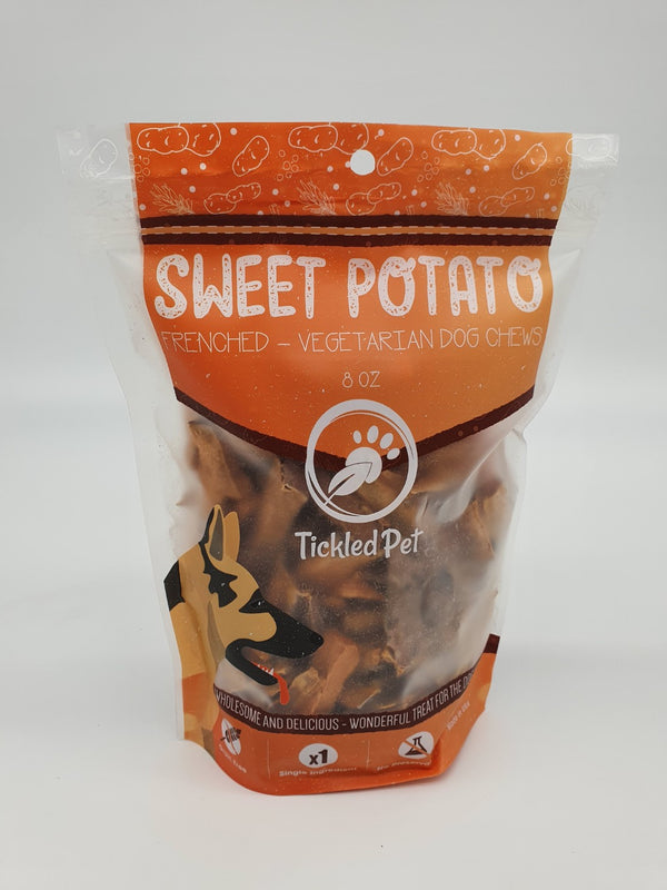 Sweet Potato Frenched Natural American Chewy Rawhide Alternative Dog Treats 8 oz - TickledPet