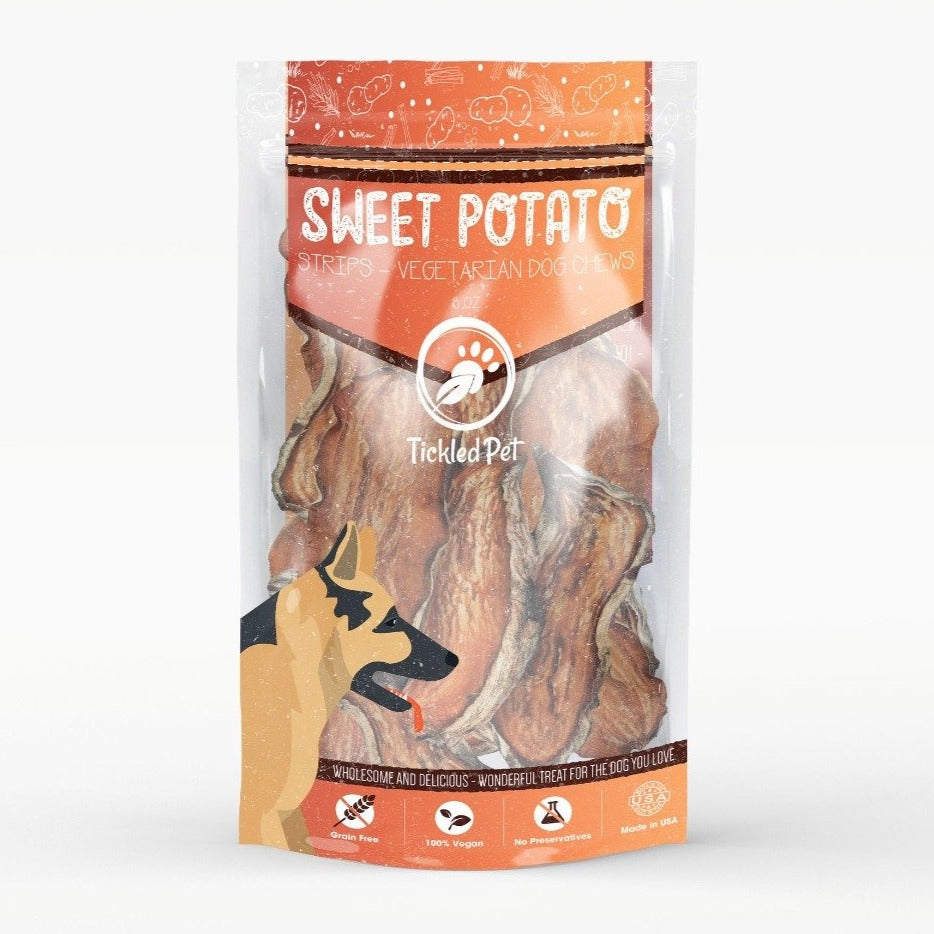 Sweet Potato Strips Natural American Chewy Rawhide Alternative Dog Treats 16 oz - TickledPet