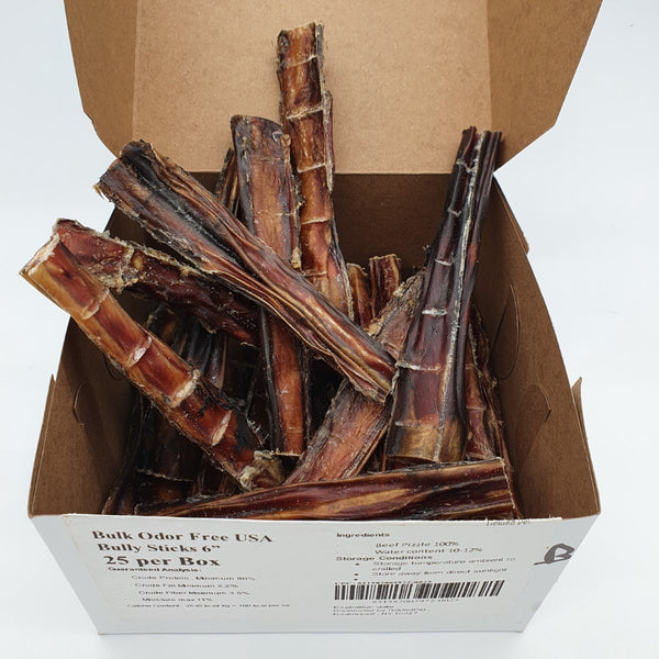 "USA Bully Sticks 6"" Odor Free 24-27 gram each - Box of 25 - TP23 - TickledPet"