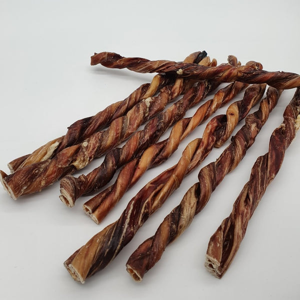 "Bully Stick Twists 12"" USA Odor Free - box of 12 sticks. TP26 - TickledPet"