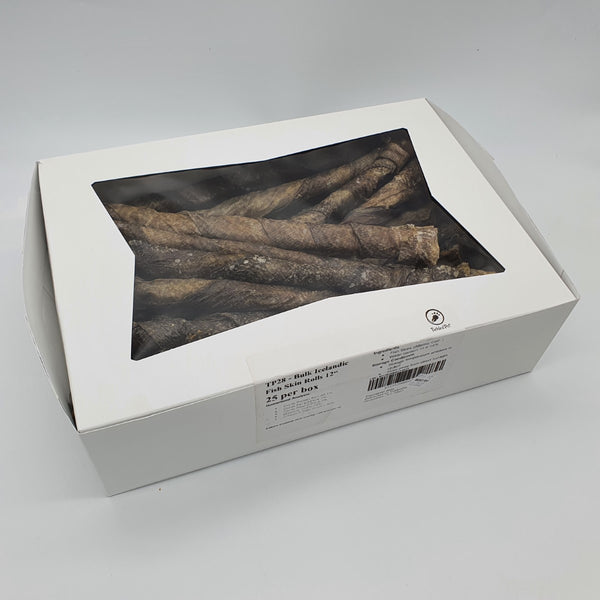 Icelandic Codfish Skin Rolls 12 inch. Bulk Box of 35 - TP44 - TickledPet