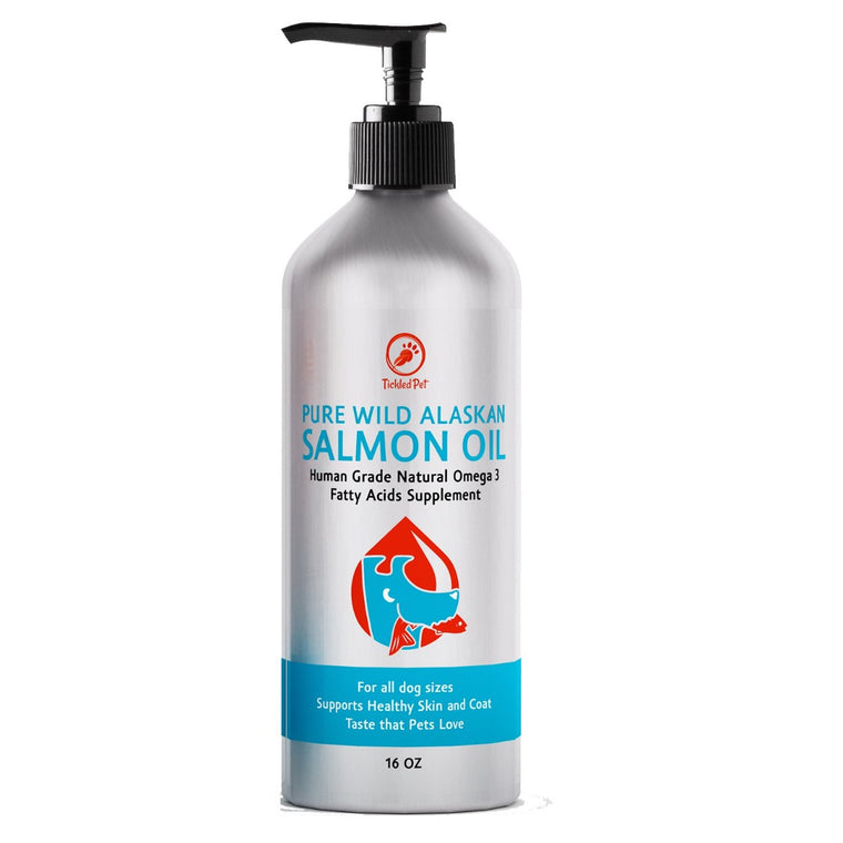 Wild Alaskan Salmon Fish Oil Omega 3 Liquid Food Supplement for Dogs & Cats - TickledPet