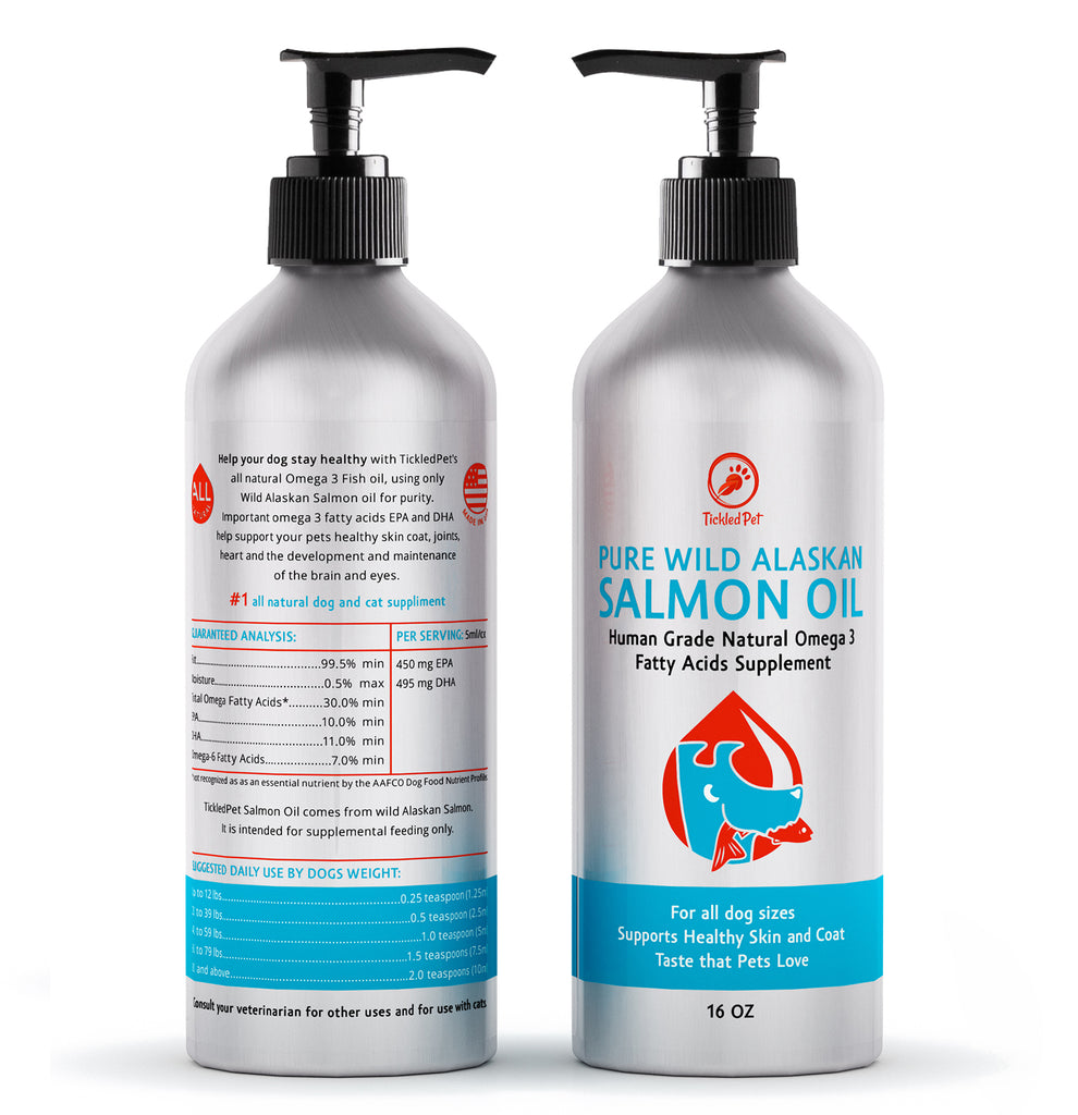 Wild Alaskan Salmon Fish Oil Omega 3 Liquid Food Supplement for Dogs & Cats