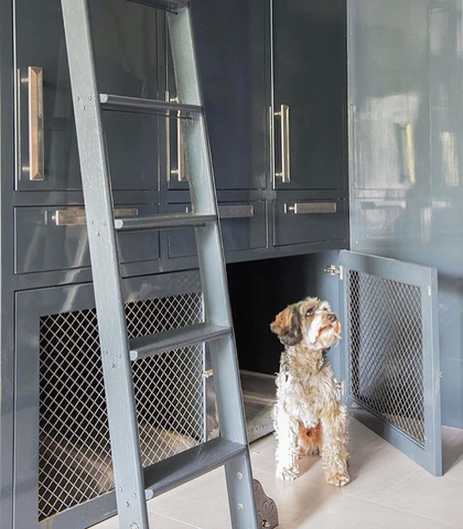 custom dog crate in kitchen