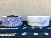 Modern Ceramic Dog Bowl in Blue Dot Pattern