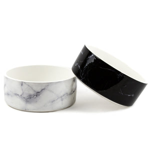 Ceramic Marble Dog Bowl in Black