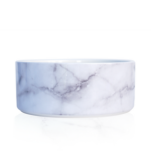 Modern Ceramic Dog Bowl in White Marble