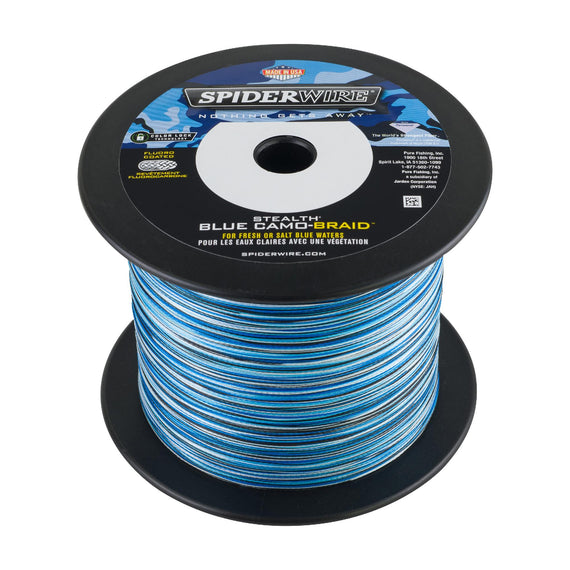 "Buy Spiderwire - Stealth Braid Superline Line Spool - 3000 Yards, 0.020"" Diameter, 100 lbs Breaking Strength, Blue Camo in Fishing online at Highball Outfitters - $257.95"