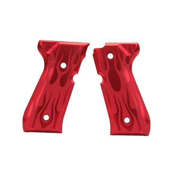 Buy Hogue - Beretta 92 Grips - Flame Aluminum, Red Anodized in Firearm Accessories online at Highball Outfitters - $77.95