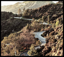 Winding road through canyon to the Hollywood Sign