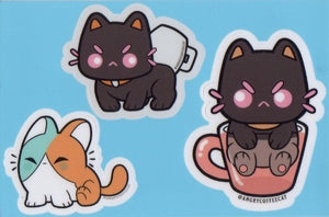 Angry Coffee Cat Sticker Sheet by Oscar Rosales