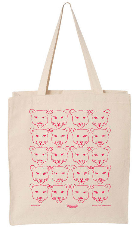 We Heart P-22 Cougar Canvas Tote (Pink)