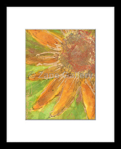 "Sunflower Beauty - 8"" w x 10"" h (w/mat & black frame)"