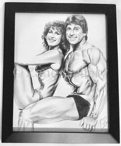 "Christine Zane and Frank Zane Portrait w/Black Frame - 13""w x 16""h"