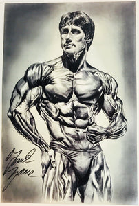 "Frank Zane Muscular Pose Autographed Print - 13"" w x 19"" h"