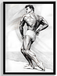 "Steve Reeves- 1947 - Colored Pencil Drawing 18"" x 24"""