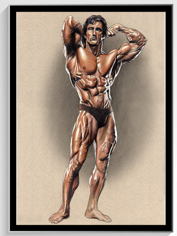 Zane Colored Pencil Drawing autographed by Frank Zane w/Black Frame - 14