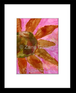 "Pink Floral Passion 8"" w x 10"" h (w/mat & black frame)"