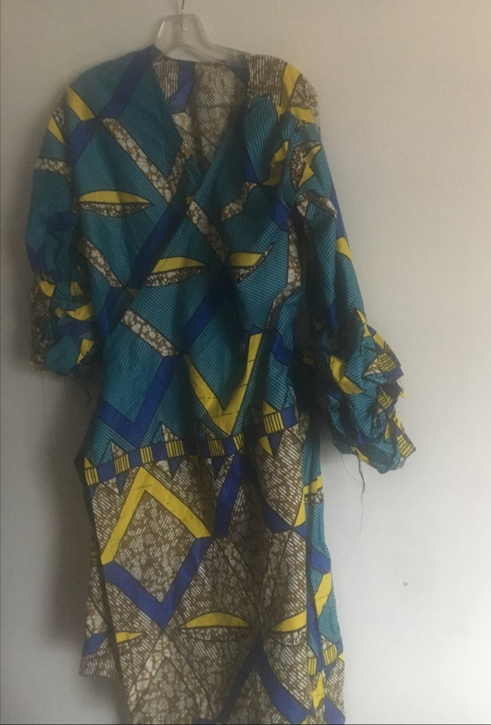 Blue and Yellow African Dress