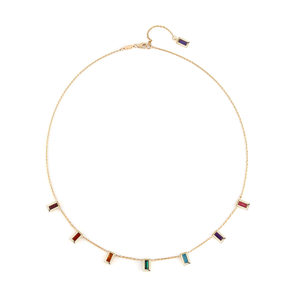 """Amanda"" Rainbow Baguette Necklace"