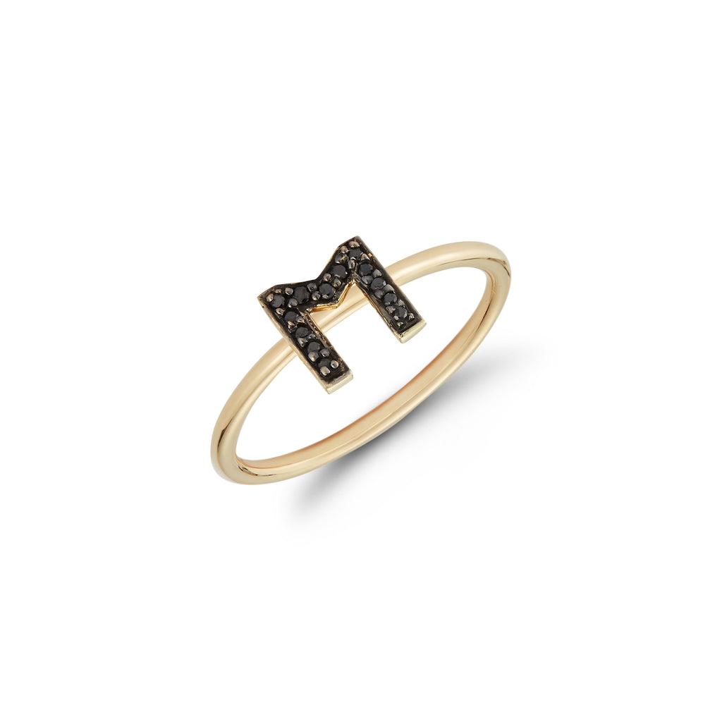 Black Diamond Initial Ring