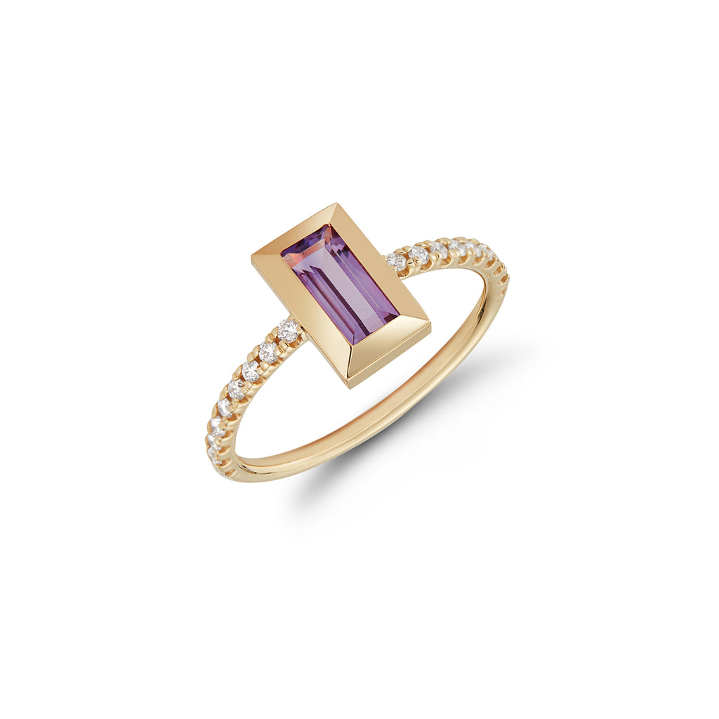 """NANCY"" BAGUETTE RING- AMETHYST W/ DIAMOND SHANK"