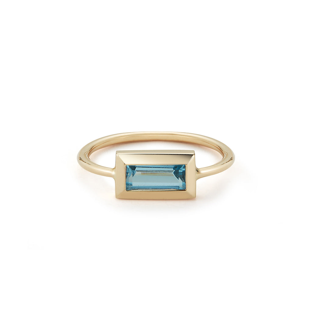 Large Baguette Ring- Sky Blue Topaz