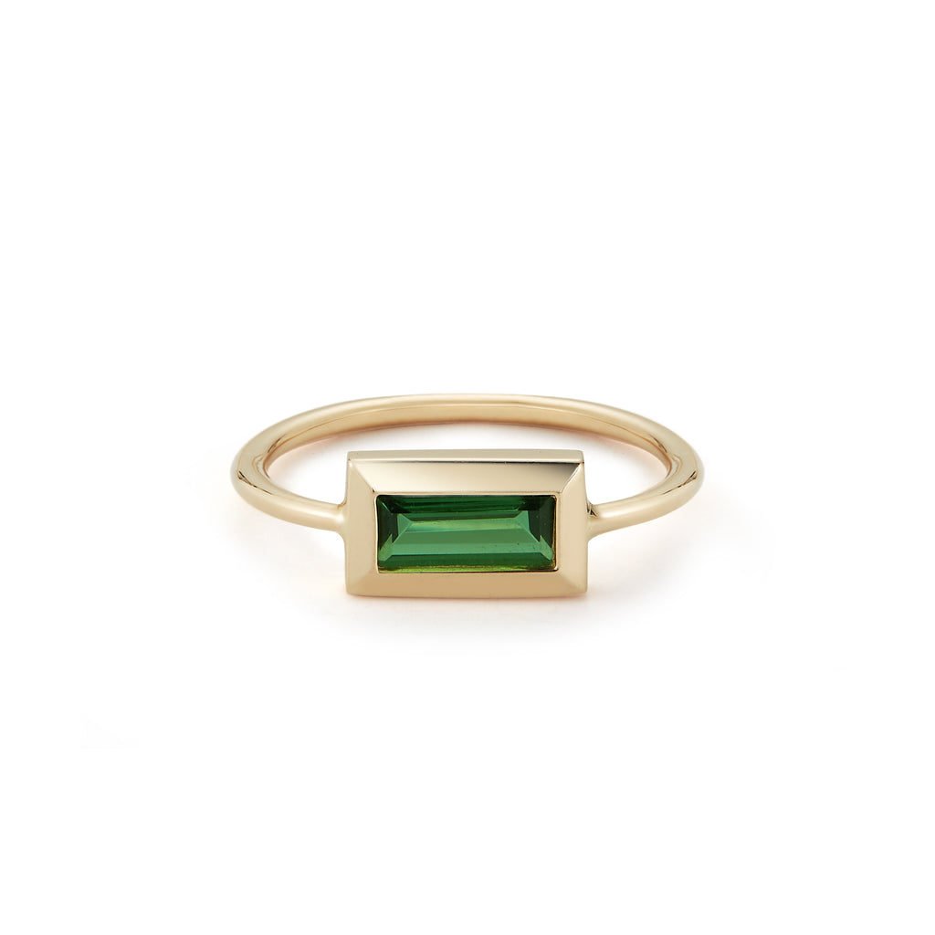 Large Baguette Ring- Green Tourmaline