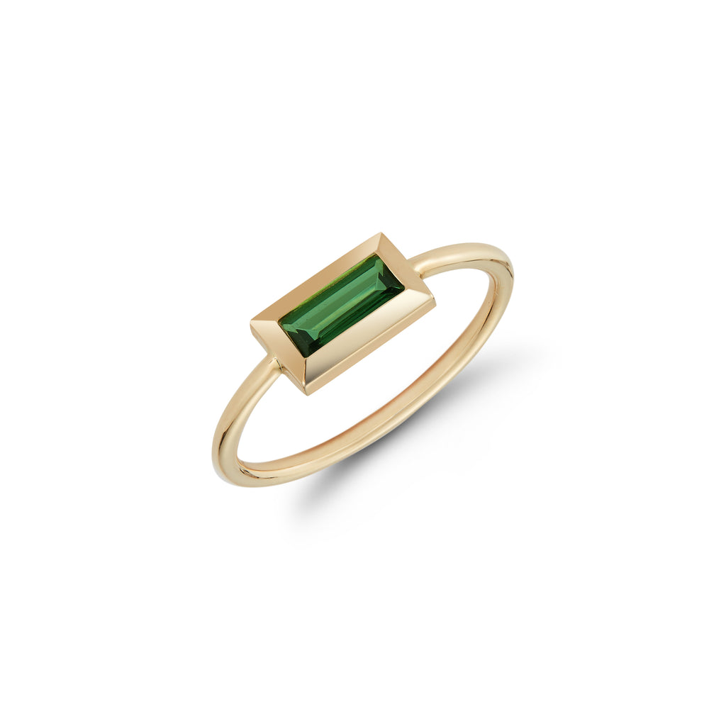 Small Baguette Ring- Green Tourmaline
