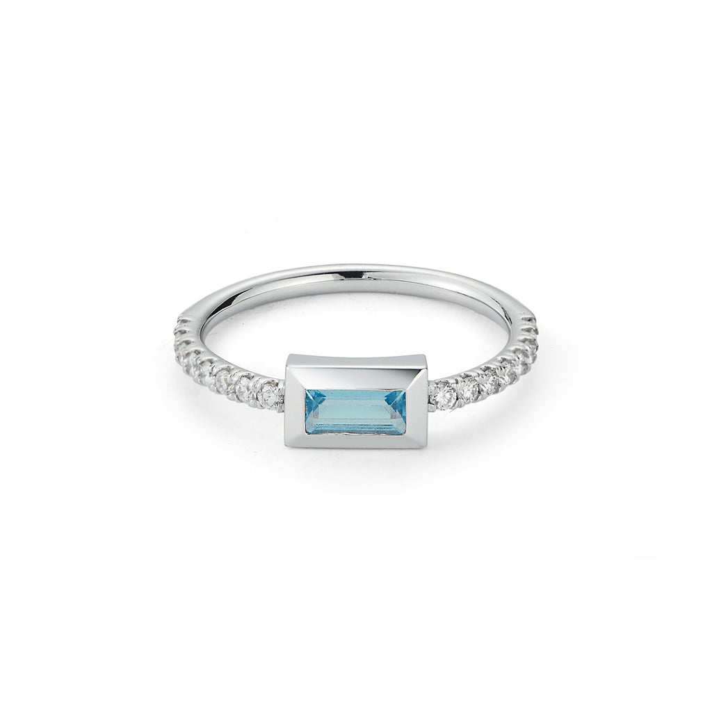 SMALL BAGUETTE RING- Sky BLUE Topaz W/ DIAMOND SHANK