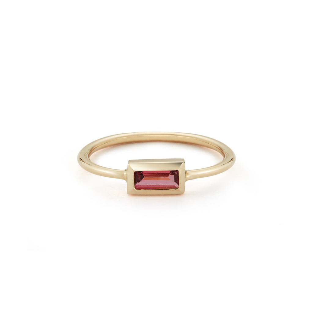 Small Baguette Ring- Pink Tourmaline