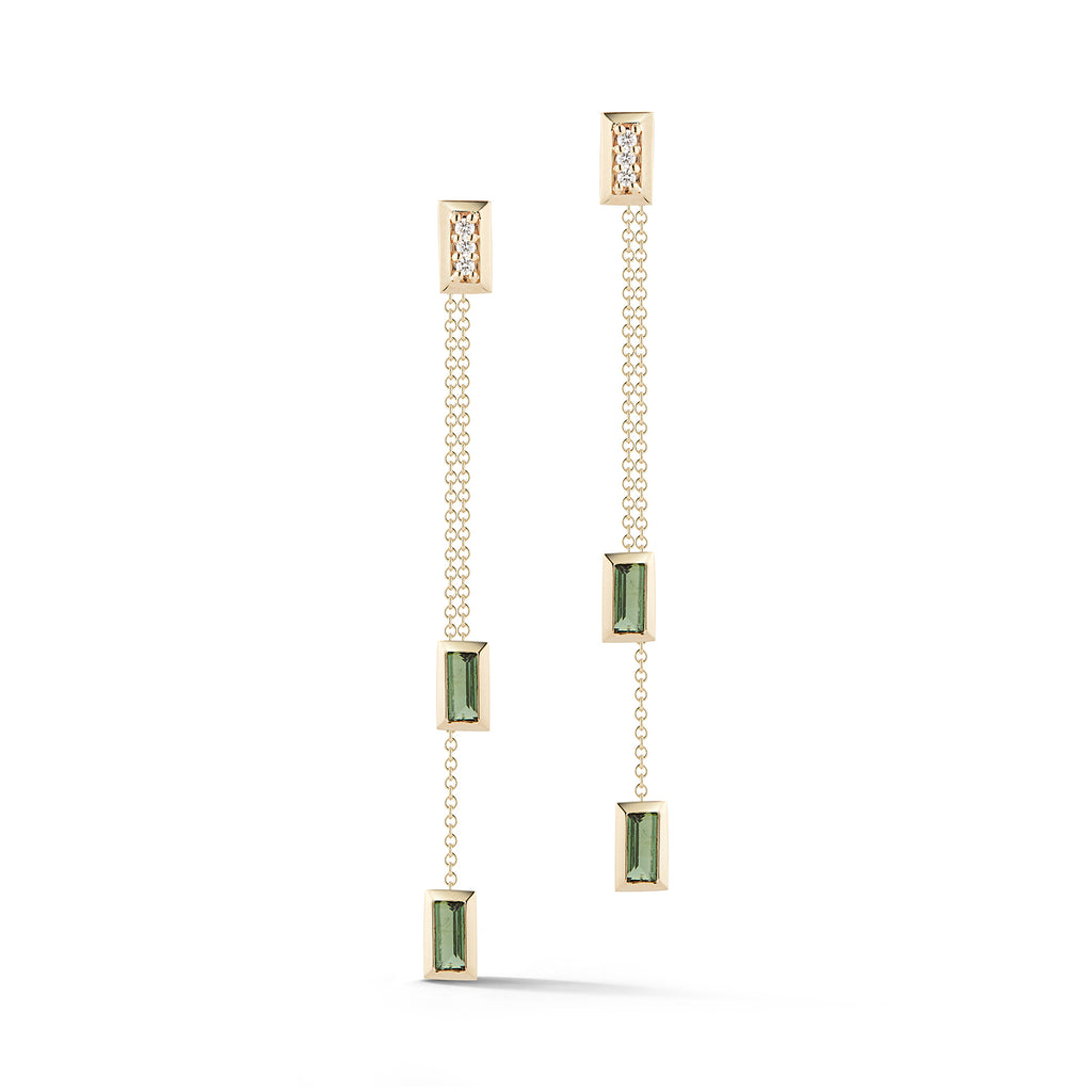 DIAMOND & BAGUETTE DANGLE EARRINGS