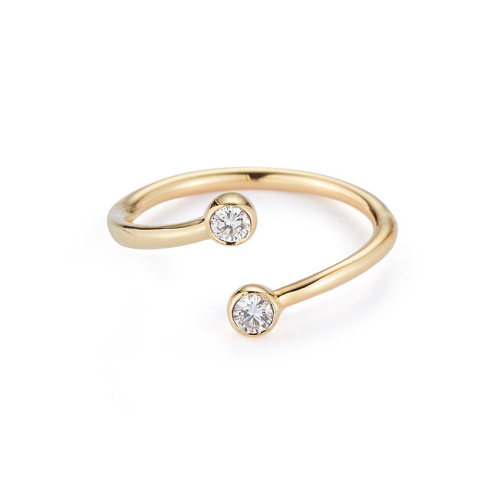 Diamond Wrap Ring with Plain band